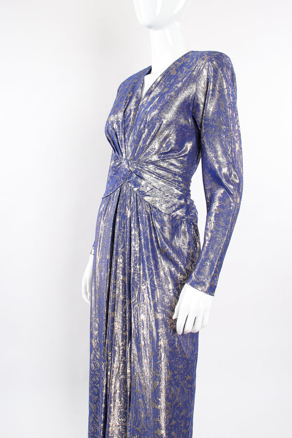 Vintage Mignon Rose Brocade Waist Wrap Dress on Mannequin angle at Recess Los Angeles