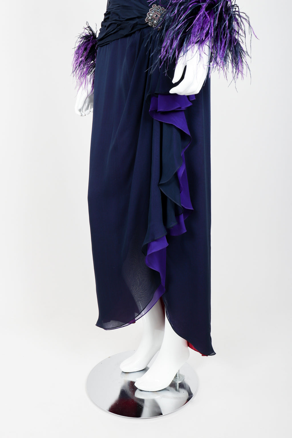 Vintage Mignon Feather Collar Draped Gown on Mannequin skirt at Recess Los Angeles