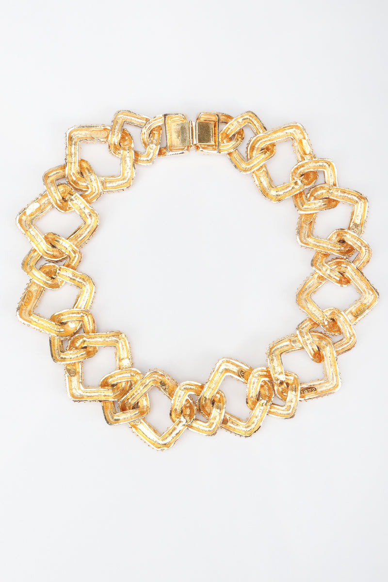 Recess Los Angeles Designer Consignment Vintage Mimi Di N Niscemi Textured Square Chain Collar Necklace