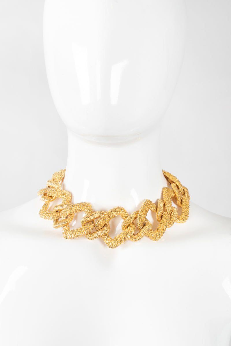 Recess Los Angeles Designer Consignment Vintage Mimi Di N Niscemi Textured Square Chain Collar Necklace Costume Gold Nugget