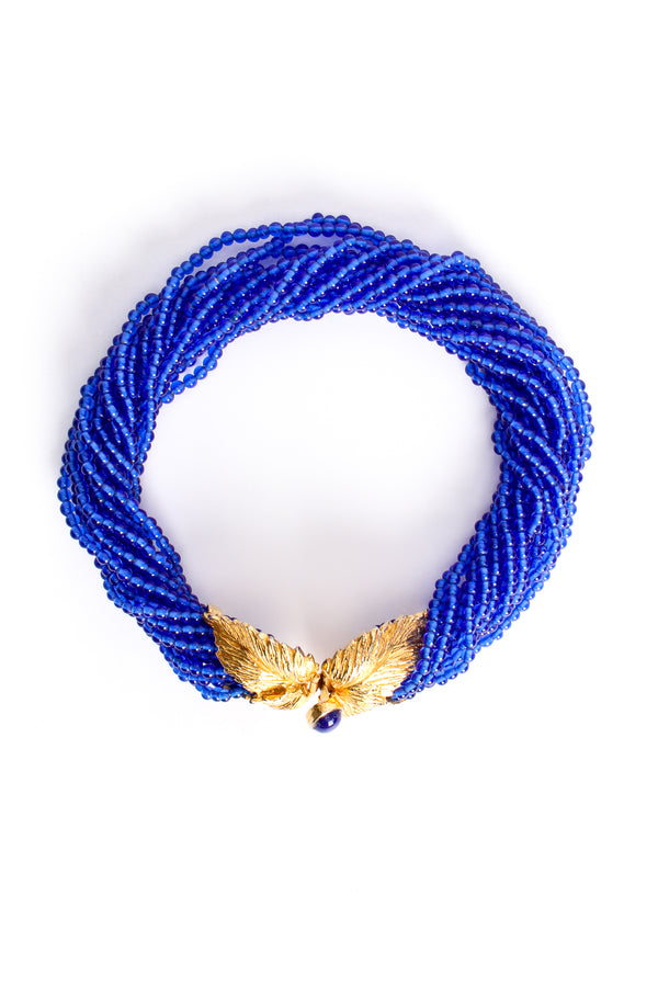Vintage Mimi Di N Beaded Cobalt Leaf Collar Necklace at Recess Los Angeles