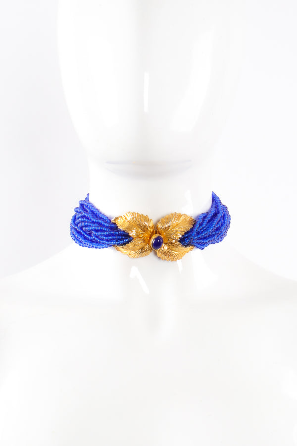 Vintage Mimi Di N Beaded Cobalt Leaf Collar Necklace on mannequin at Recess Los Angeles