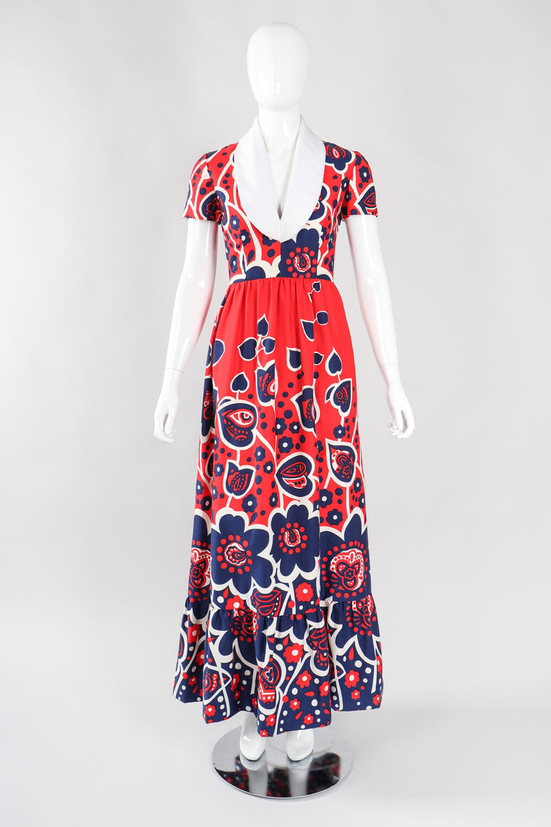 Recess Los Angeles Vintage Oscar de la Renta Shawl Collar Marimekko Floral Dress