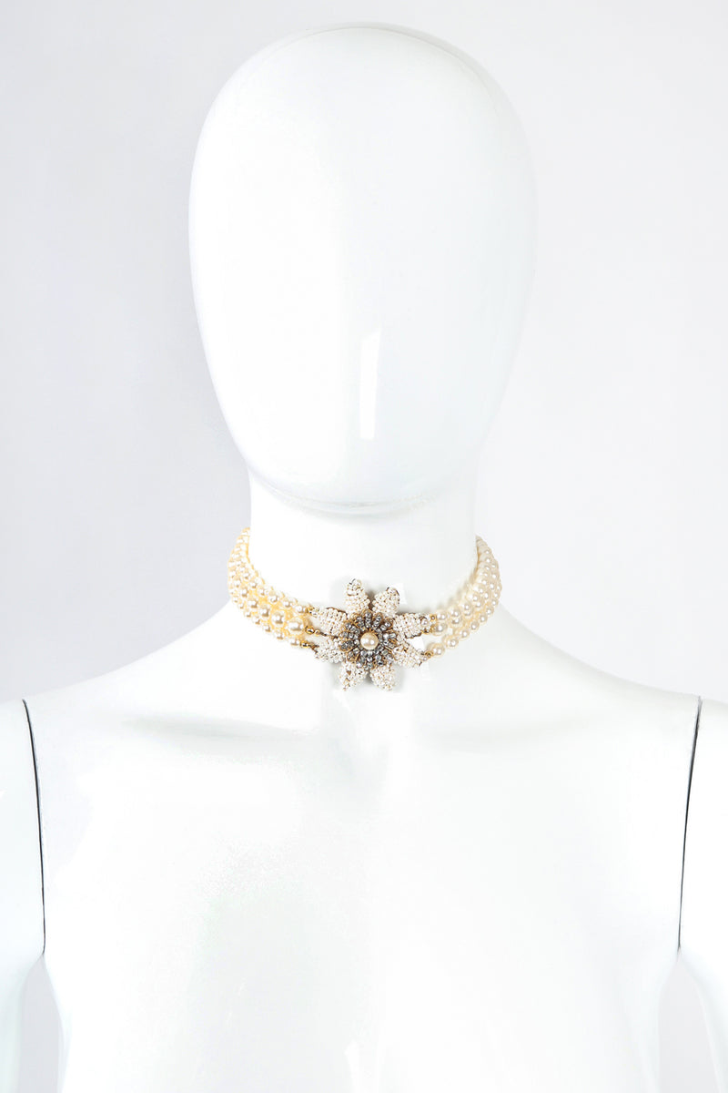 Recess Designer Consignment Vintage Miriam Haskell Pearl Flower Choker Necklace Los Angeles Resale
