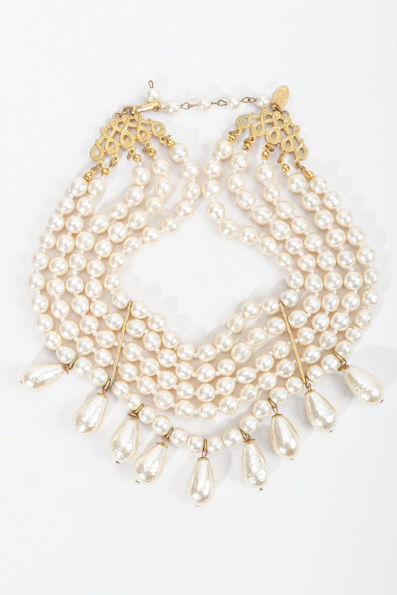 Vintage Miriam Haskell 5-Strand Pearl Fringe Choker Necklace at Recess Los Angeles