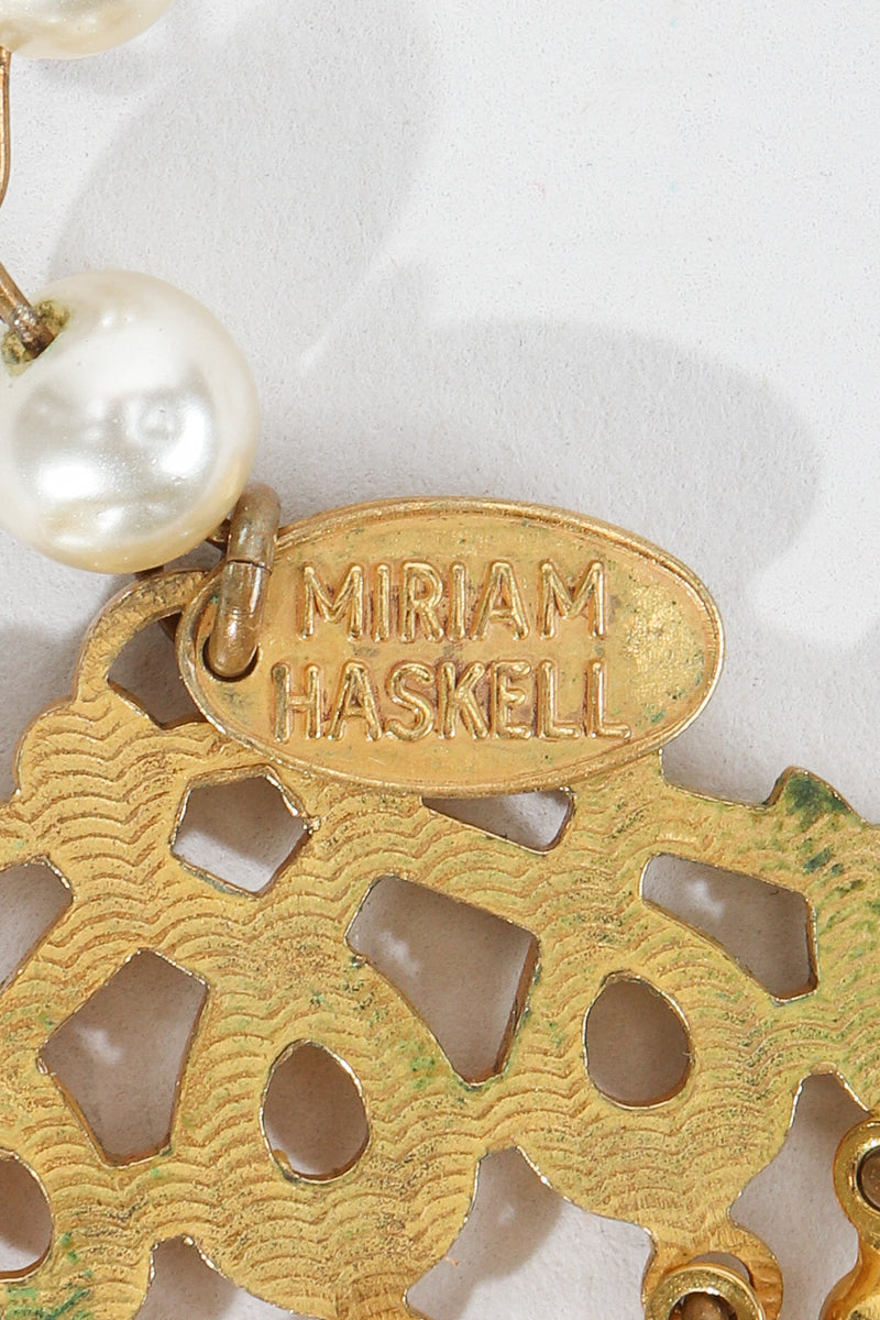 Vintage Miriam Haskell 5-Strand Pearl Fringe Choker signature stamped charm