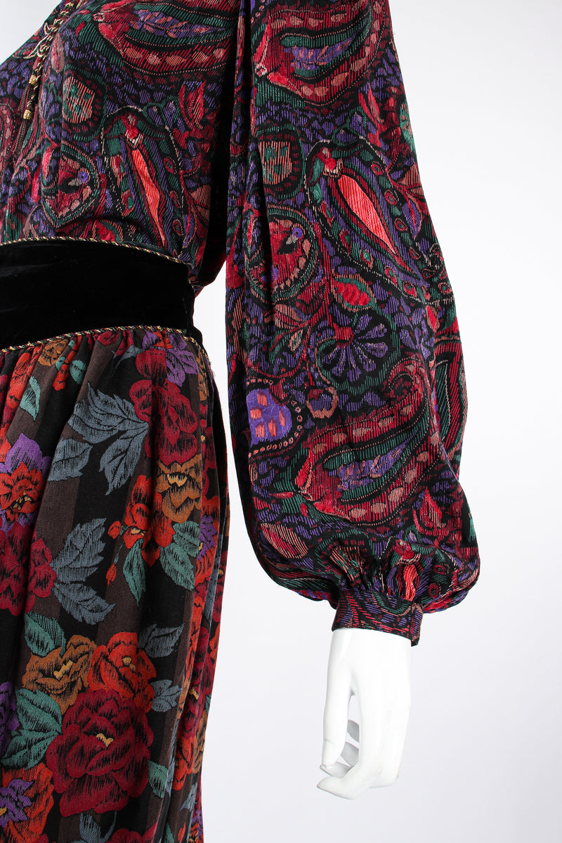 Vintage Miss O Oscar de la Renta Floral Paisley Blouse & Skirt Set on Mannequin sleeve @ Recess LA