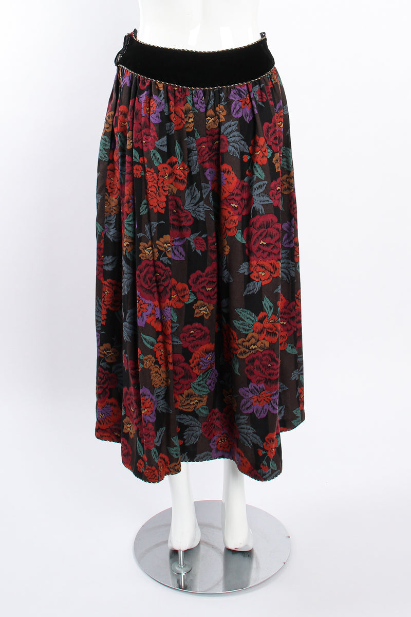 Vintage Miss O Oscar de la Renta Floral Paisley Skirt Set on Mannequin back @ Recess LA