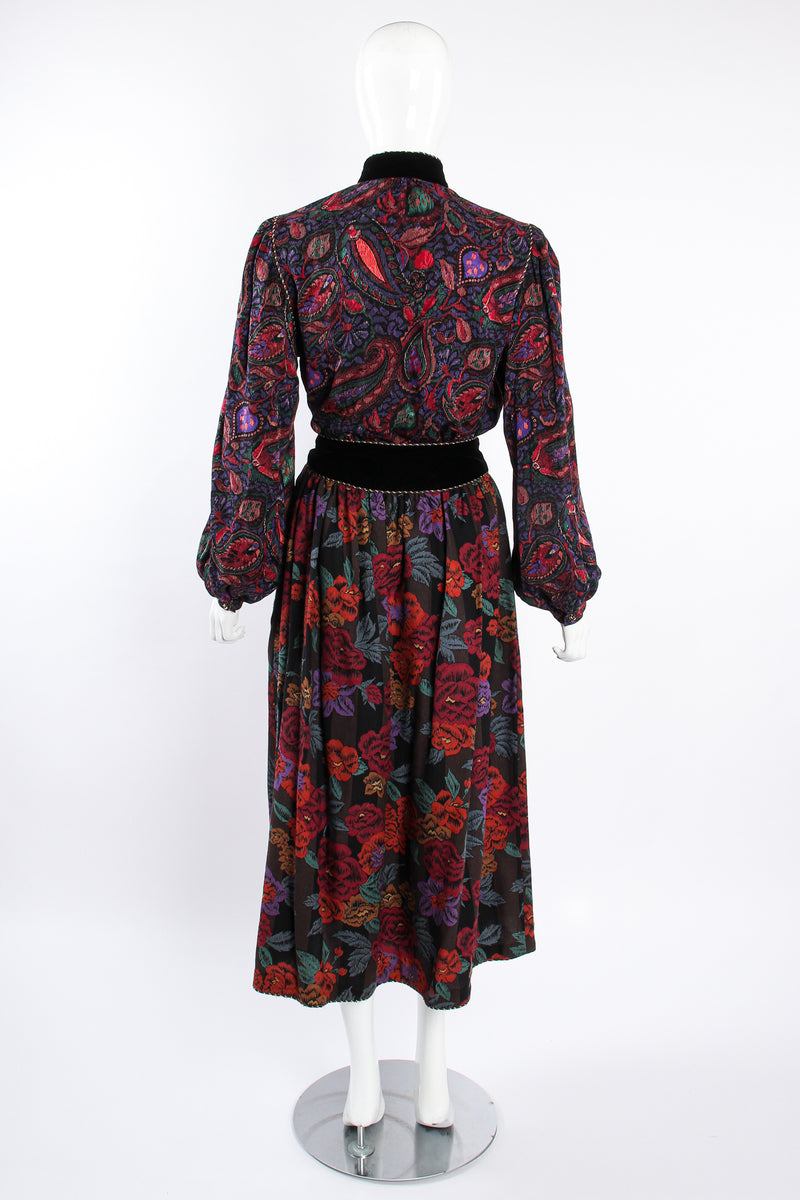 Vintage Miss O Oscar de la Renta Floral Paisley Blouse & Skirt Set on Mannequin back @ Recess LA