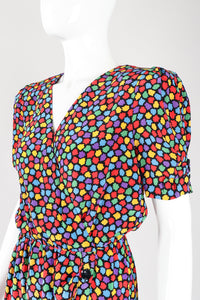 Recess Los Angeles Designer Consignment Vintage Oscar de la Renta Miss O 1940s Silk Rainbow Mosaic Wrap Dress