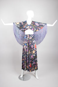 Missoni Piano Shawl Print Fringe Isis Wing Cape Crop Top & Skirt Set