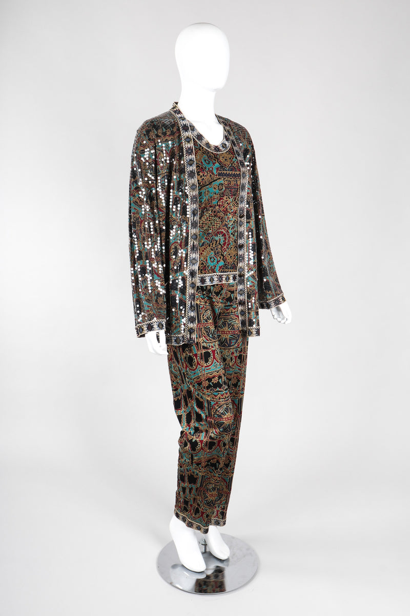 Recess Los Angeles Vintage Missoni 3-piece Moroccan Print Sequin Silk Pajama Leisure Set