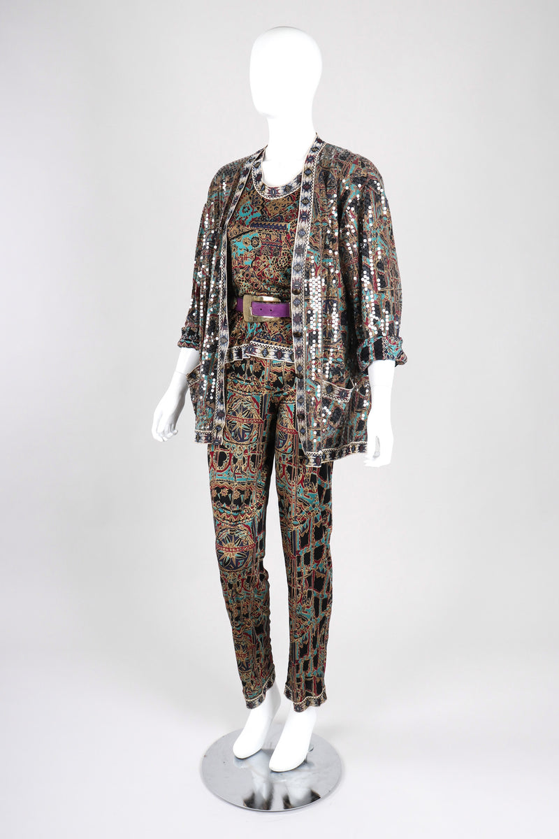 Recess Los Angeles Vintage Missoni 3-piece Moroccan Print Sequin Silk Leisure Set