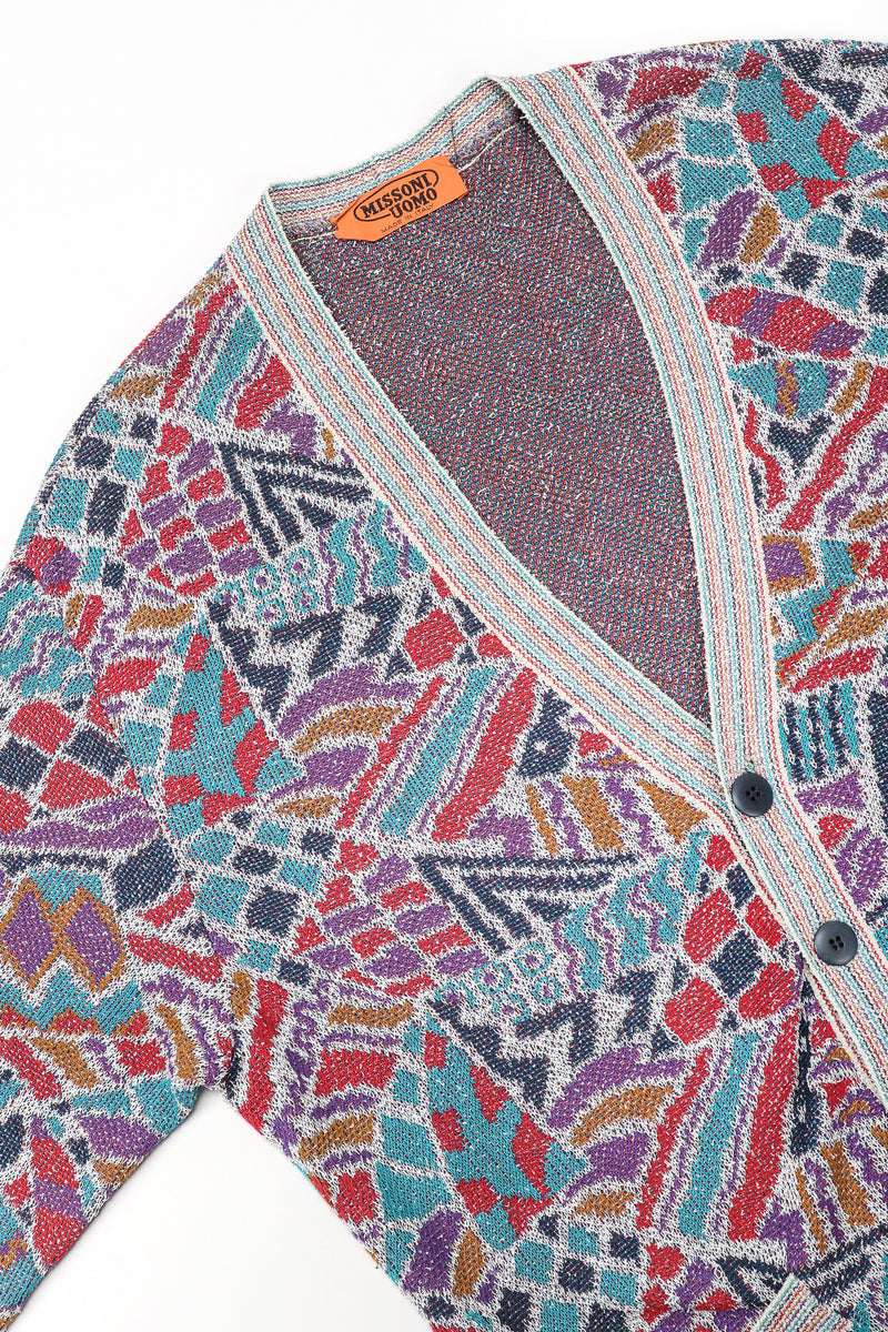 Recess Designer Consignment Vintage Missoni Geometric Double Knit Grandpa Cardigan Sweater Los Angeles Resale