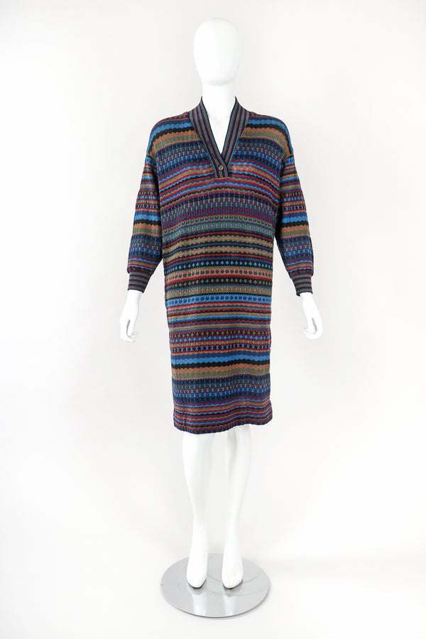 Recess Designer Consignment Vintage Missoni Blue Dobby Stripe Knit Sweater Dress Los Angeles Resale