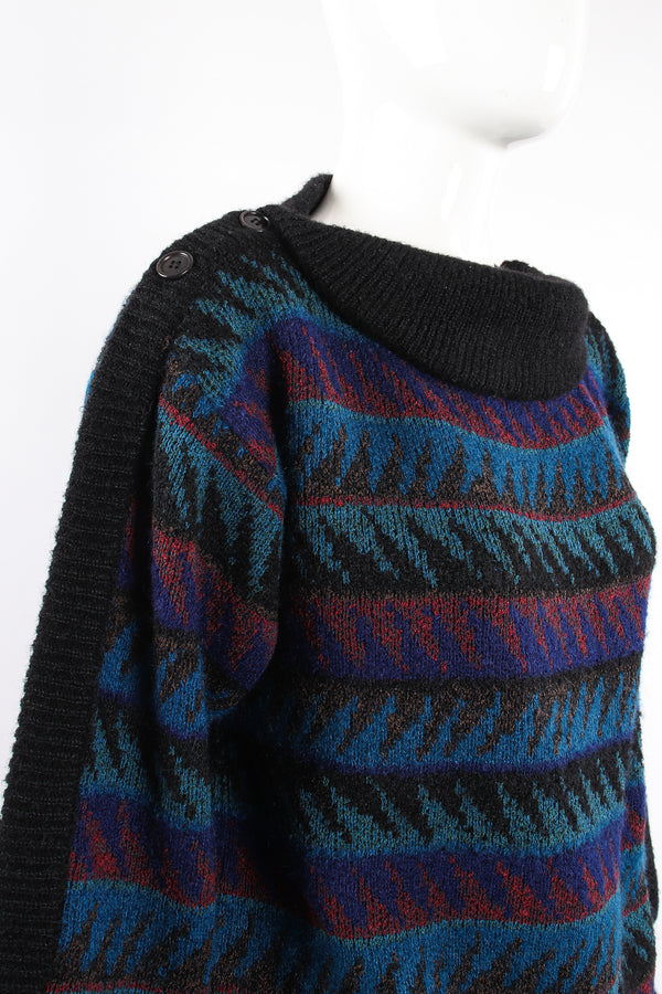 Vintage Missoni Sawtooth Stripe Bateau Sweater on Mannequin shoulder buttons at Recess Los Angeles