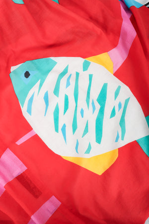 Vintage Mollie Parnis Tropical Fish Print Dress fabric detail at Recess Los Angeles