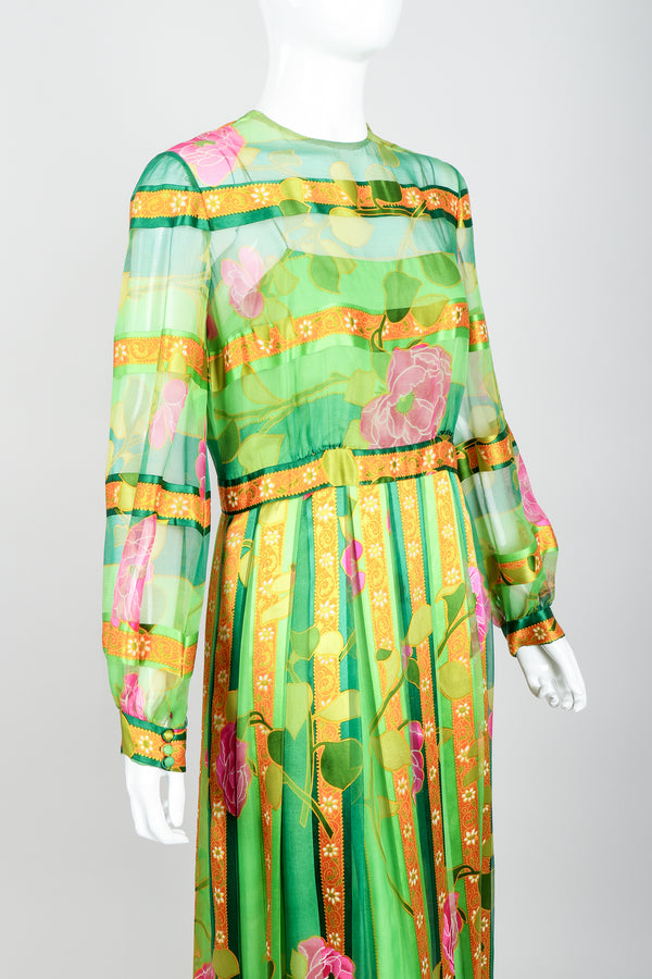 Vintage Molly Parnis Chiffon Spring Floral Dress on Mannequin Crop at Recess Los Angeles