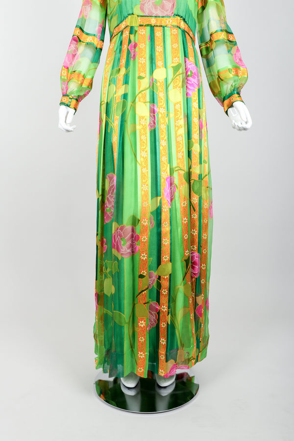 Vintage Molly Parnis Chiffon Spring Floral Dress on Mannequin Skirt at Recess Los Angeles
