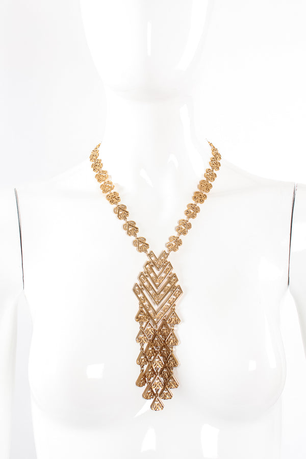 Vintage Monet Chevron Filigree Fringe Pendant on mannequin at Recess Los Angeles