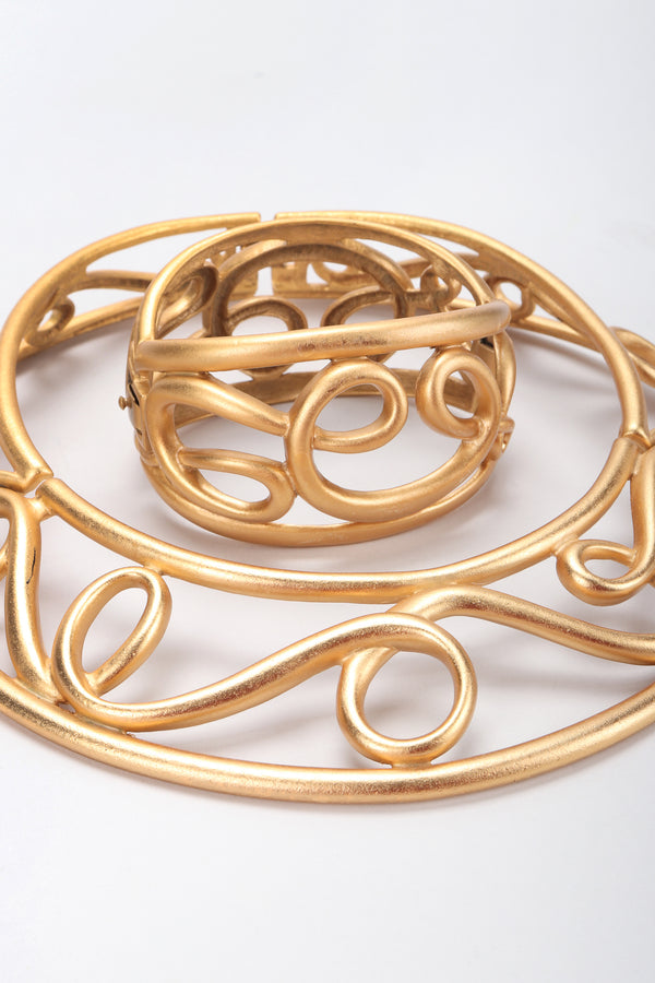 Recess Designer Consignment Vintage Monet Brushed Matte Gold Swirl Cage Cuff Bracelet Los Angeles Resale