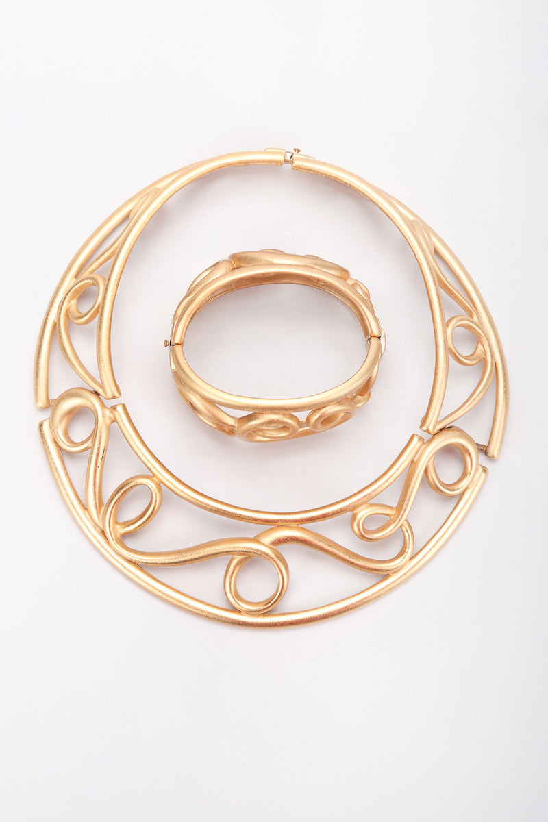 Recess Designer Consignment Vintage Monet Brushed Swirl Cage Collar Costume Jewelry Los Angeles resale