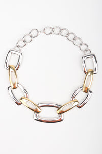 Recess Los Angeles Designer Consignment Vintage Monet Rectangle Link Collar Necklace Costume Jewelry