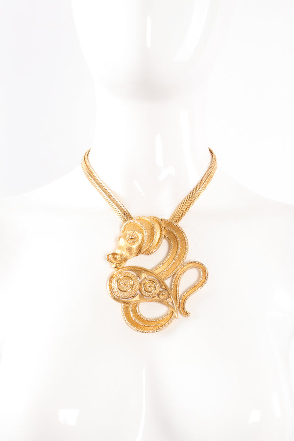 Vintage Monet Mythic Seahorse Collar Necklace on mannequin at Recess Los Angeles
