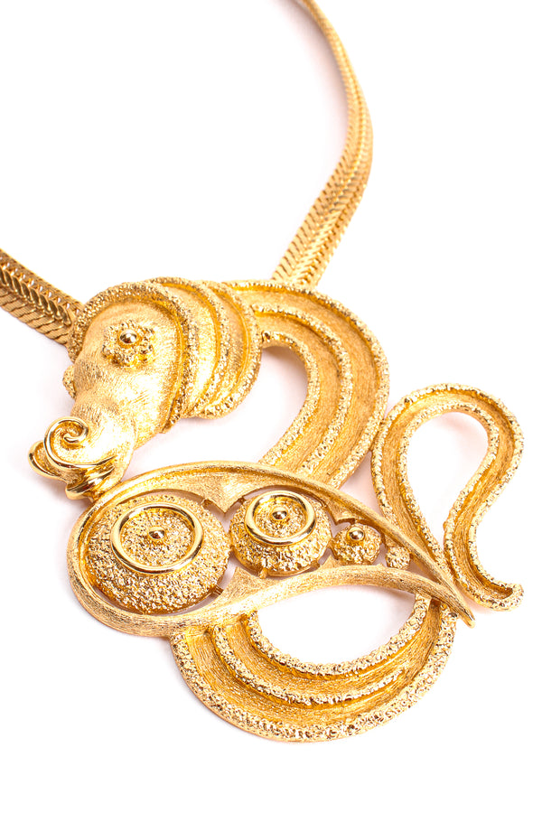 Vintage Monet Mythic Seahorse Collar Necklace detail at Recess Los Angeles