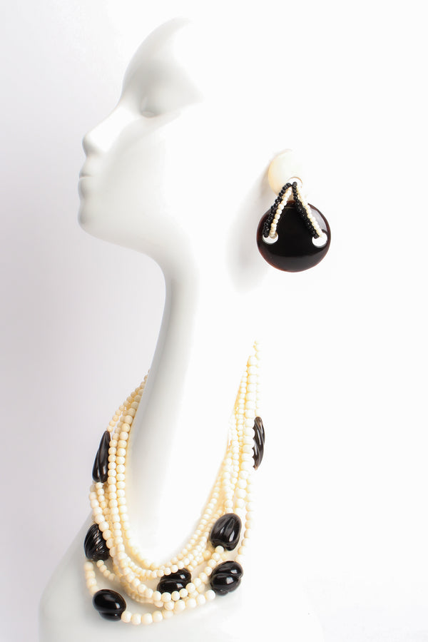 Gerda Lynggaard Pour Monies Vintage Beaded Bone Horn Necklace & Earring Set mannequin at Recess LA