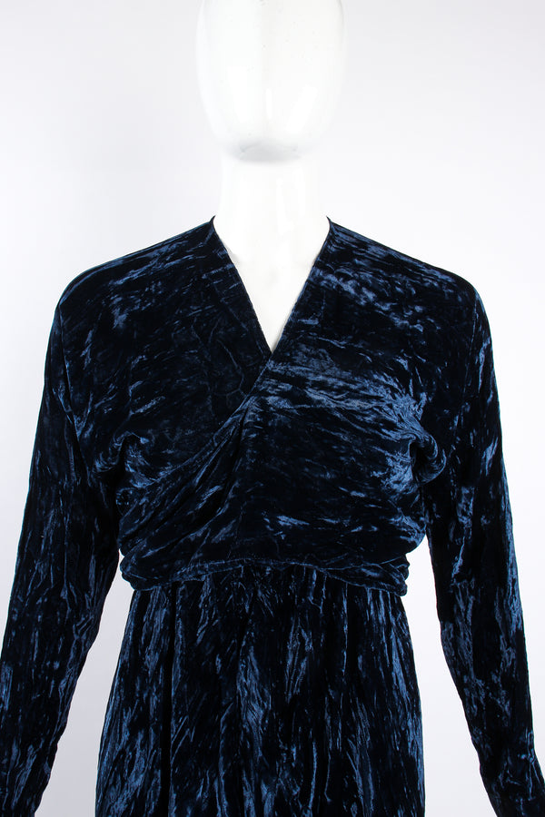 Vintage Morgane Le Fay Crushed Velvet Top & Dress Set on Mannequin frt crop at Recess Los Angeles