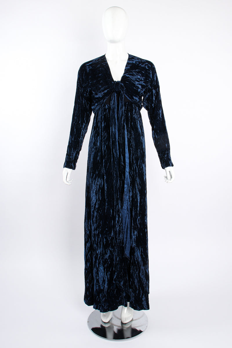 Vintage Morgane Le Fay Crushed Velvet Top & Dress Set on Mannequin front at Recess Los Angeles