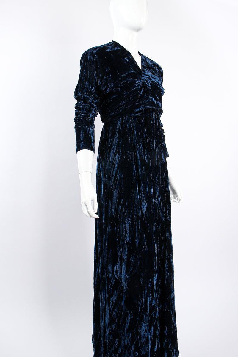 Vintage Morgane Le Fay Crushed Velvet Top & Dress Set on Mannequin angle at Recess Los Angeles