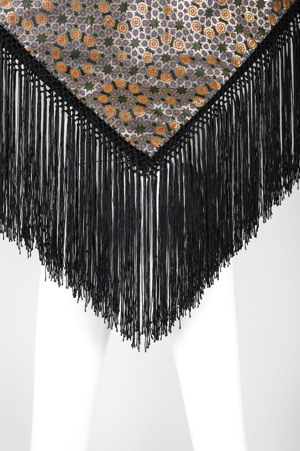 Recess Los Angeles Vintage  Metallic BrocadeMoroccan Mosaic Fringe Piano Shawl