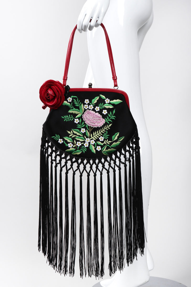 Recess Los Angeles Vintage Moschino Embroidered Satin Piano Shawl Frame Handbag