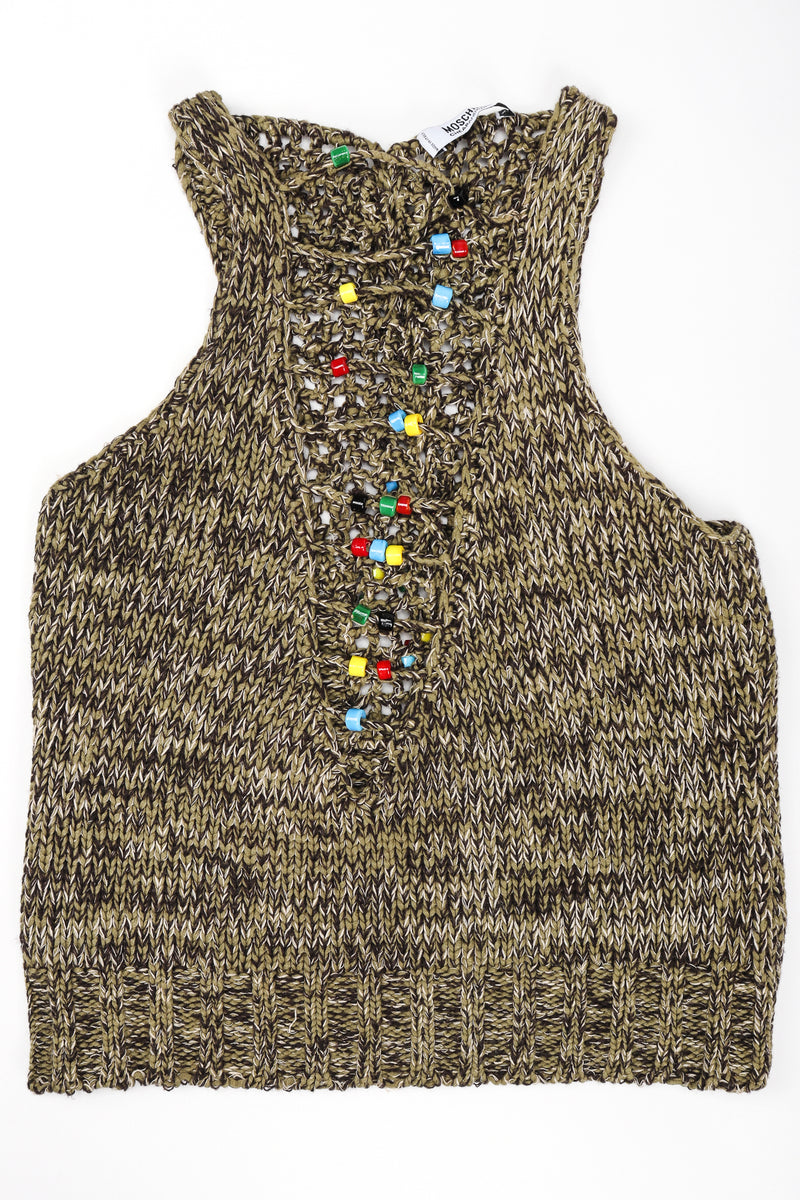 Recess Los Angeles Designer Consignment Vintage Moschino Braid Knit Bead Top
