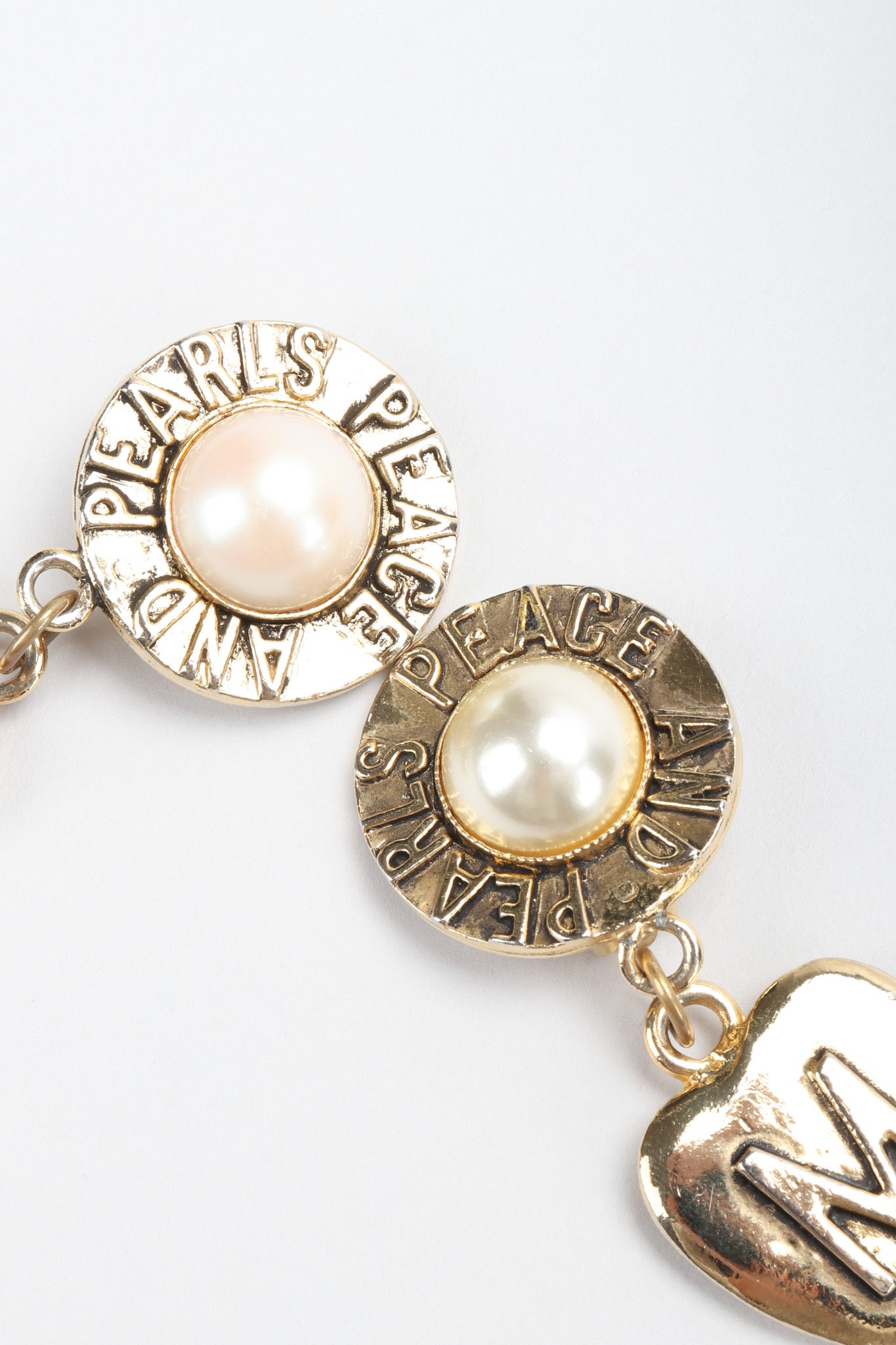 Vintage Moschino Peace & Pearls Heart Drop Earrings – Recess