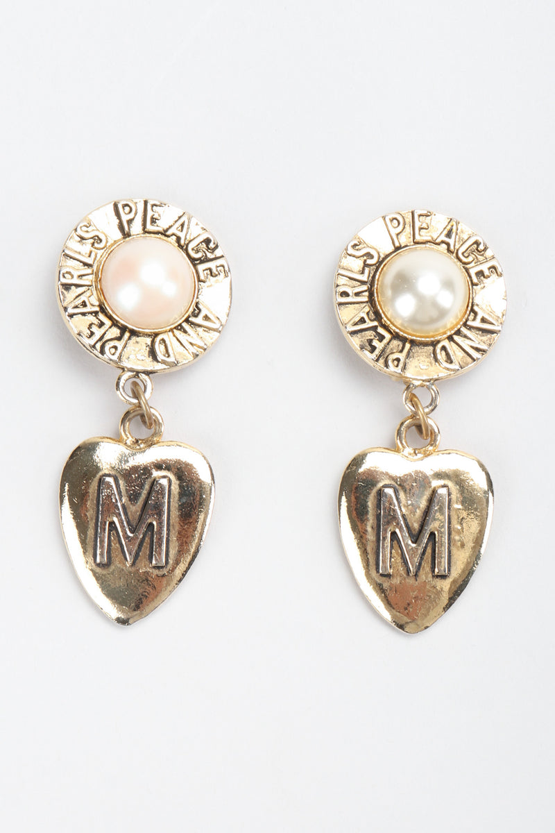 Recess Los Angeles Vintage Moschino Peace & Pearls Heart Drop Earrings