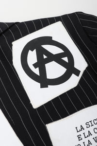 Recess Los Angeles Vintage Moschino Jeremy Scott Anarchy Anarchist Label Appliqué Rebel Pinstripe Jacket