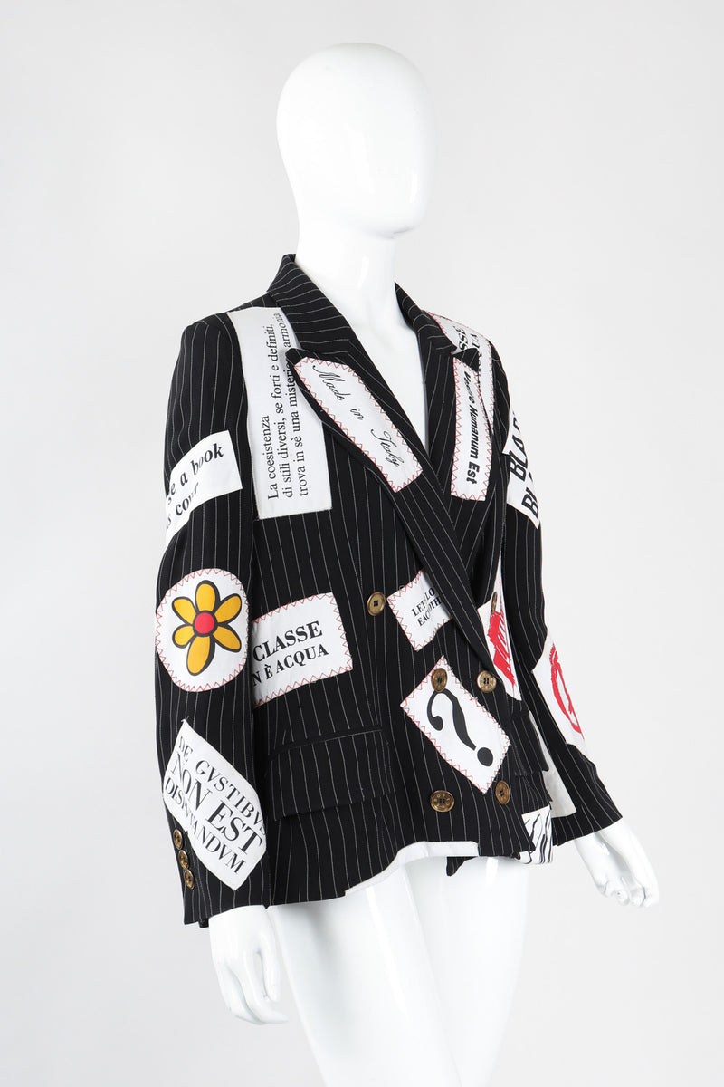 Recess Los Angeles Vintage Moschino Couture Repetita Juvant Jeremy Scott Anarchy Anarchist Label Appliqué Rebel Pinstripe Jacket