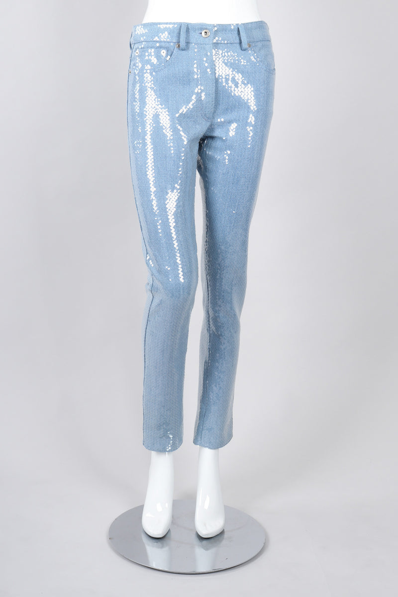 Recess Los Angeles Vintage Moschino Barbie Sequin Light Wash Denim
