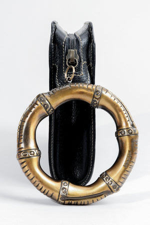 Vintage Moschino Brass Bracelet Wristlet Clutch side at Recess Los Angeles