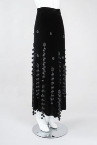 Recess Los Angeles Vintage Moschino Black Velvet Crochet Pompom Fringe Weeping Willow Skirt