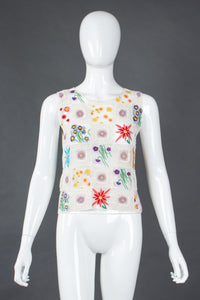 Recess Los Angeles Vintage Moschino Cheap And Chic Sheer Floral Embroidered Crochet Top