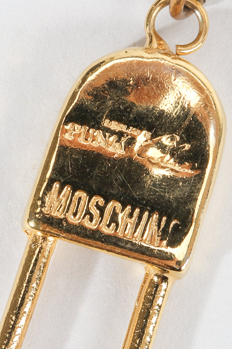 Vintage Moschino I Believe In Punk Chic Safety Pin Earrings logo stamp at Recess