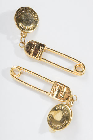 Vintage Moschino I Believe In Punk Chic Safety Pin Earrings at Recess Los Angeles