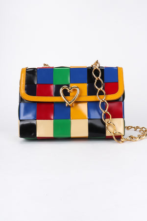 Recess Los Angeles Vintage Moschino Woven Rainbow Leather Crossbody Bag