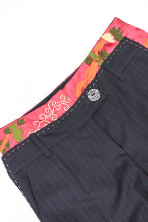 Recess Los Angeles Designer Consignment Vintage Moschino Embroidered Silk Contrast Pinstripe Trouser Pant