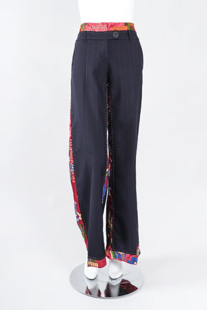 Recess Los Angeles Recess Los Angeles Designer Consignment Vintage Moschino Embroidered Silk Contrast Pinstripe Trouser Pant Consignment Vintage Moschino Embroidered Silk Contrast Pinstripe Trouser