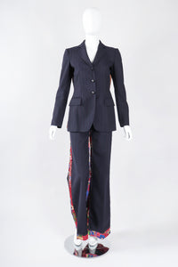 Recess Los Angeles Designer Consignment Vintage Moschino Rock N Roll Embellished Pinstripe Bird Jacket